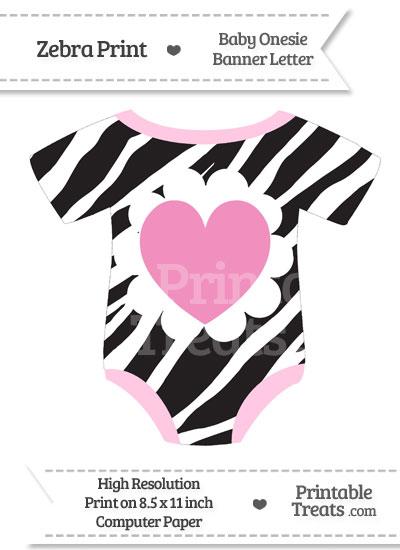 Zebra Print Baby Onesie Shaped Banner Heart End Flag from PrintableTreats.com