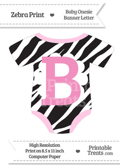 Zebra Print Baby Onesie Shaped Banner Letter B from PrintableTreats.com