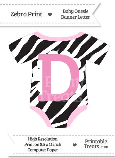 Zebra Print Baby Onesie Shaped Banner Letter D from PrintableTreats.com