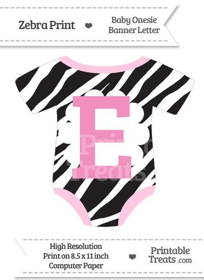 Zebra Print Baby Onesie Shaped Banner Letter E from PrintableTreats.com