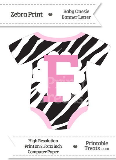 Zebra Print Baby Onesie Shaped Banner Letter F from PrintableTreats.com