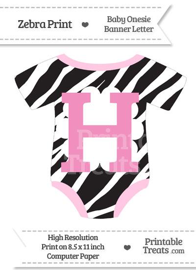 Zebra Print Baby Onesie Shaped Banner Letter H from PrintableTreats.com