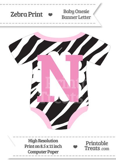 Zebra Print Baby Onesie Shaped Banner Letter N from PrintableTreats.com