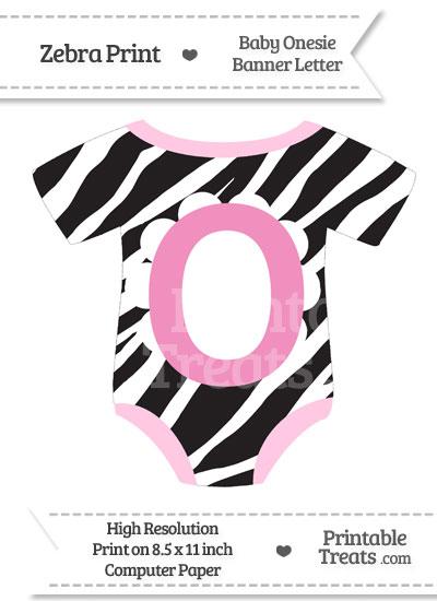 Zebra Print Baby Onesie Shaped Banner Letter O from PrintableTreats.com