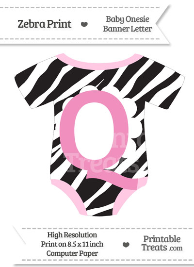 Zebra Print Baby Onesie Shaped Banner Letter Q from PrintableTreats.com