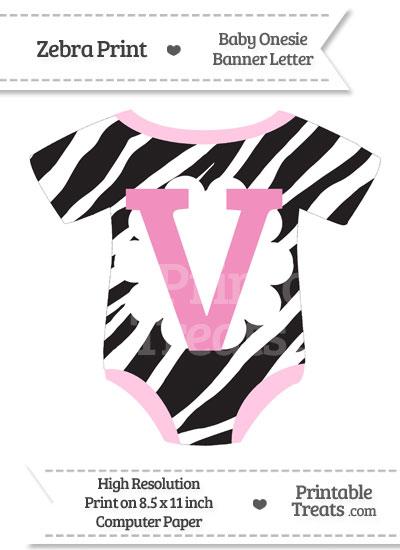 Zebra Print Baby Onesie Shaped Banner Letter V from PrintableTreats.com