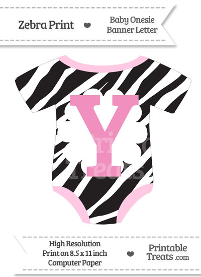 Zebra Print Baby Onesie Shaped Banner Letter Y from PrintableTreats.com