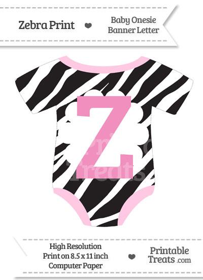 Zebra Print Baby Onesie Shaped Banner Letter Z from PrintableTreats.com