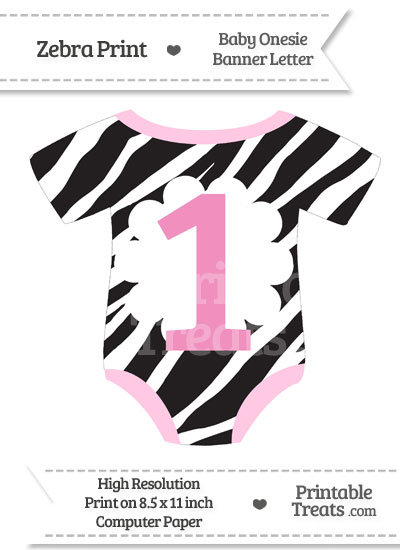Zebra Print Baby Onesie Shaped Banner Number 1 from PrintableTreats.com