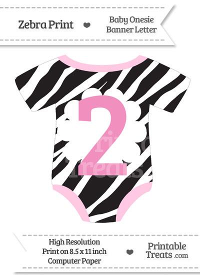 Zebra Print Baby Onesie Shaped Banner Number 2 from PrintableTreats.com