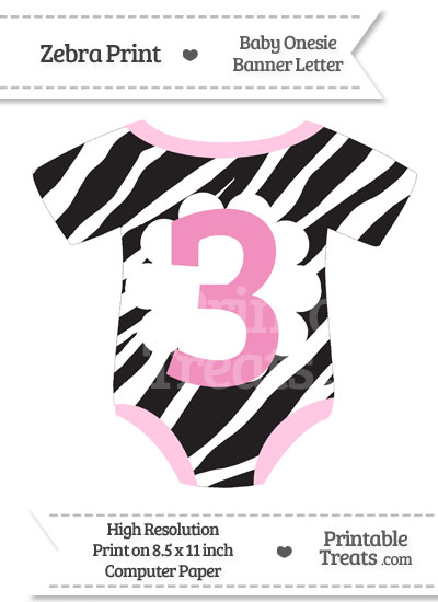 Zebra Print Baby Onesie Shaped Banner Number 3 from PrintableTreats.com