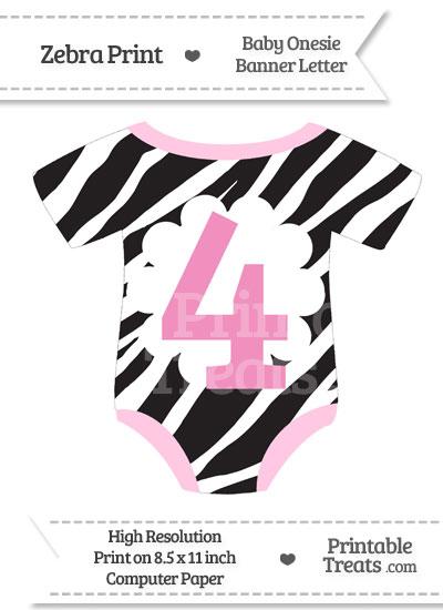 Zebra Print Baby Onesie Shaped Banner Number 4 from PrintableTreats.com