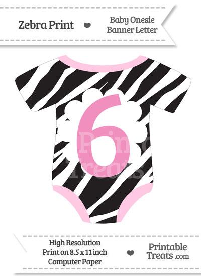 Zebra Print Baby Onesie Shaped Banner Number 6 from PrintableTreats.com