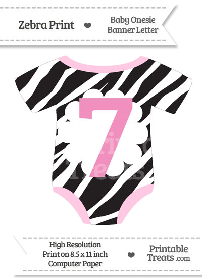 Zebra Print Baby Onesie Shaped Banner Number 7 from PrintableTreats.com