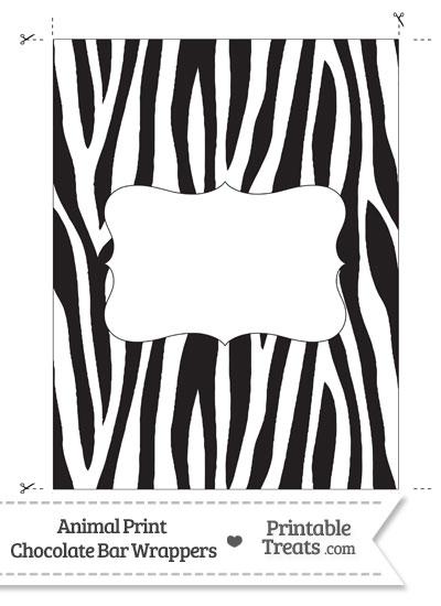 Zebra Print Chocolate Bar Wrappers from PrintableTreats.com