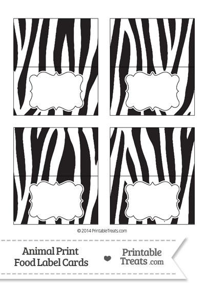Zebra Print Food Labels from PrintableTreats.com