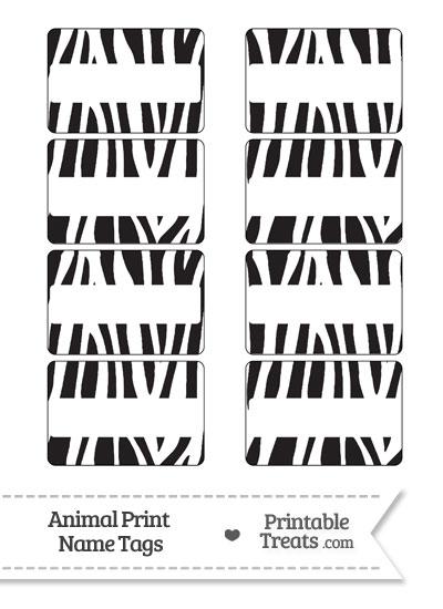 Zebra Print Name Tags from PrintableTreats.com