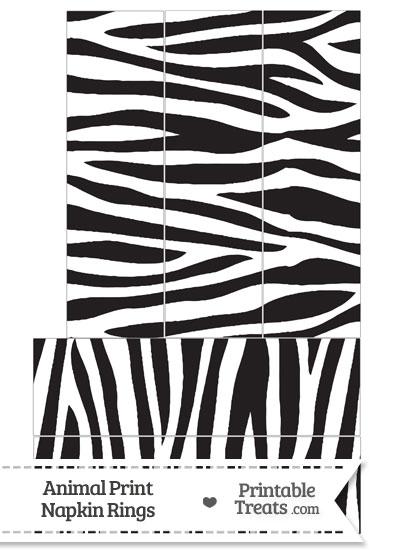 Zebra Print Napkin Rings from PrintableTreats.com