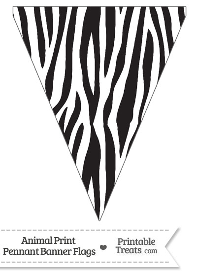 Zebra Print Pennant Banner Flag from PrintableTreats.com