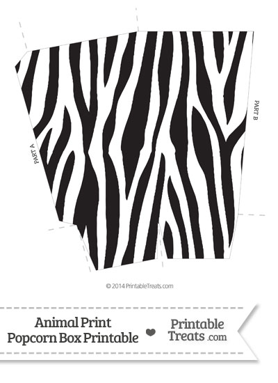 Zebra Print Popcorn Box from PrintableTreats.com