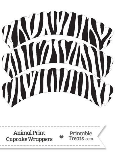 Zebra Print Scalloped Cupcake Wrappers from PrintableTreats.com