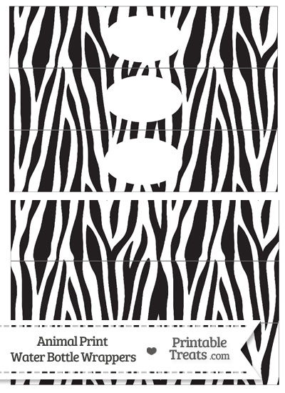 Zebra Print Water Bottle Wrappers from PrintableTreats.com
