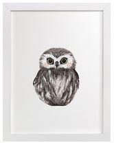 Baby Owl Art Print for Gender Neutral Animal Theme Nursery