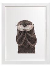 Baby Sea Otter Art Print for Gender Neutral Animal Theme Nursery