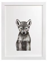 Baby Wolf Art Print for Gender Neutral Animal Theme Nursery