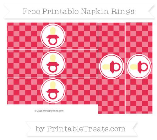 Free Amaranth Pink Checker Pattern Baby Pacifier Napkin Rings