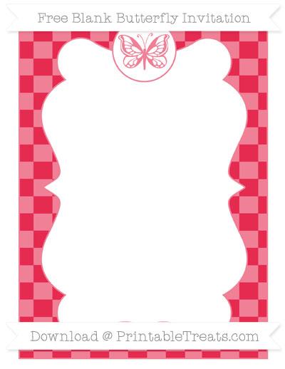 Free Amaranth Pink Checker Pattern Blank Butterfly Invitation