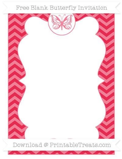 Free Amaranth Pink Chevron Blank Butterfly Invitation