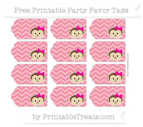 Free Amaranth Pink Chevron Girl Monkey Party Favor Tags