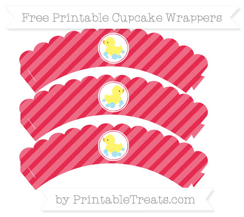 Free Amaranth Pink Diagonal Striped Baby Duck Scalloped Cupcake Wrappers