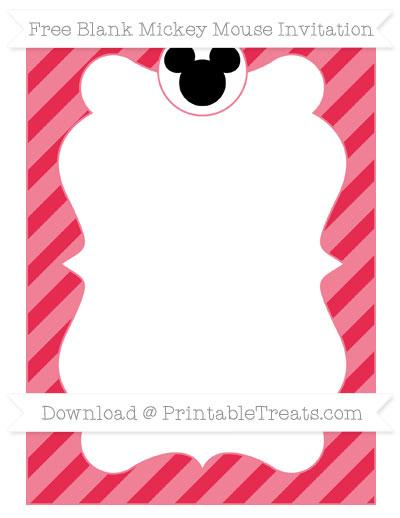 Free Amaranth Pink Diagonal Striped Blank Mickey Mouse Invitation