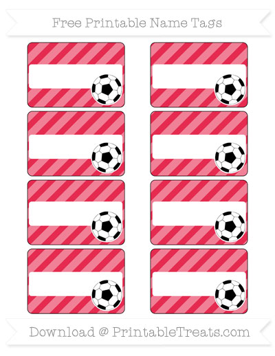 Free Amaranth Pink Diagonal Striped Soccer Name Tags