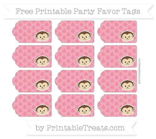 Free Amaranth Pink Fish Scale Pattern Boy Monkey Party Favor Tags