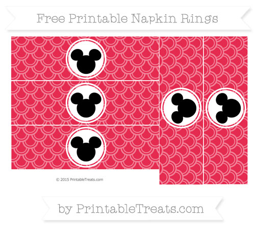 Free Amaranth Pink Fish Scale Pattern Mickey Mouse Napkin Rings