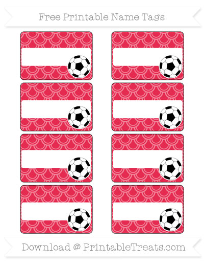 Free Amaranth Pink Fish Scale Pattern Soccer Name Tags