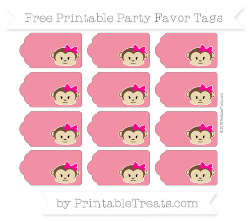 Free Amaranth Pink Girl Monkey Party Favor Tags