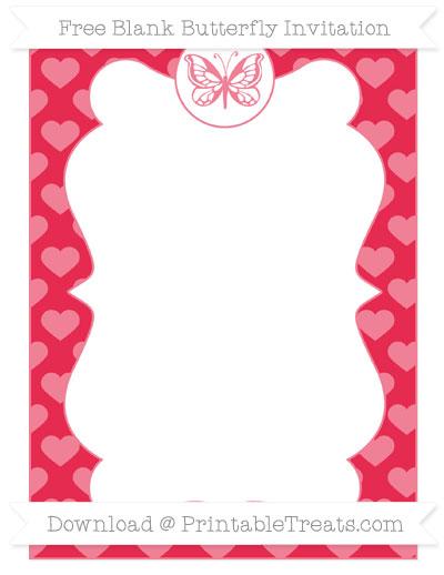 Free Amaranth Pink Heart Pattern Blank Butterfly Invitation