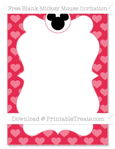 Free Amaranth Pink Heart Pattern Blank Mickey Mouse Invitation