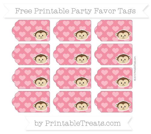 Free Amaranth Pink Heart Pattern Boy Monkey Party Favor Tags