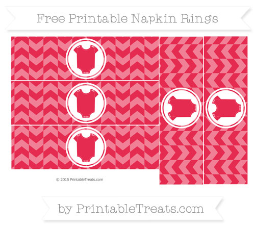 Free Amaranth Pink Herringbone Pattern Baby Onesie Napkin Rings