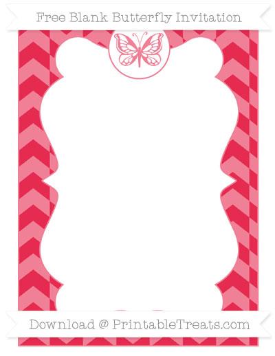 Free Amaranth Pink Herringbone Pattern Blank Butterfly Invitation