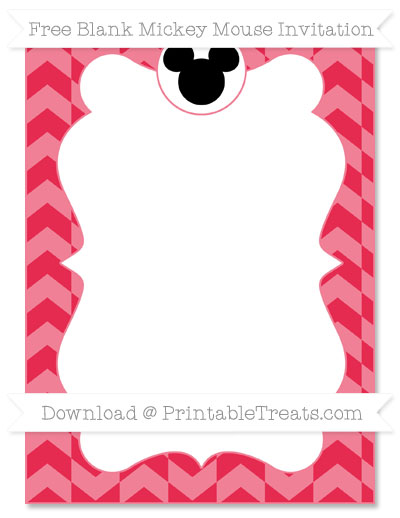 Free Amaranth Pink Herringbone Pattern Blank Mickey Mouse Invitation