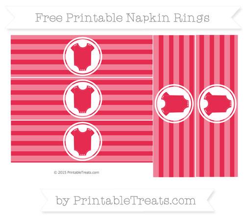 Free Amaranth Pink Horizontal Striped Baby Onesie Napkin Rings
