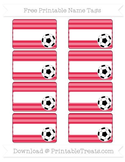 Free Amaranth Pink Horizontal Striped Soccer Name Tags