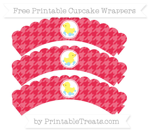 Free Amaranth Pink Houndstooth Pattern Baby Duck Scalloped Cupcake Wrappers