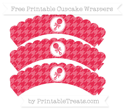 Free Amaranth Pink Houndstooth Pattern Baby Rattle Scalloped Cupcake Wrappers